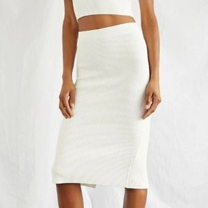 White Textured Ribbed Midi Skirt